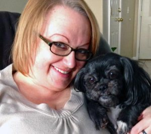Jennafer with Tixie, an 8 year old shih-tzu.